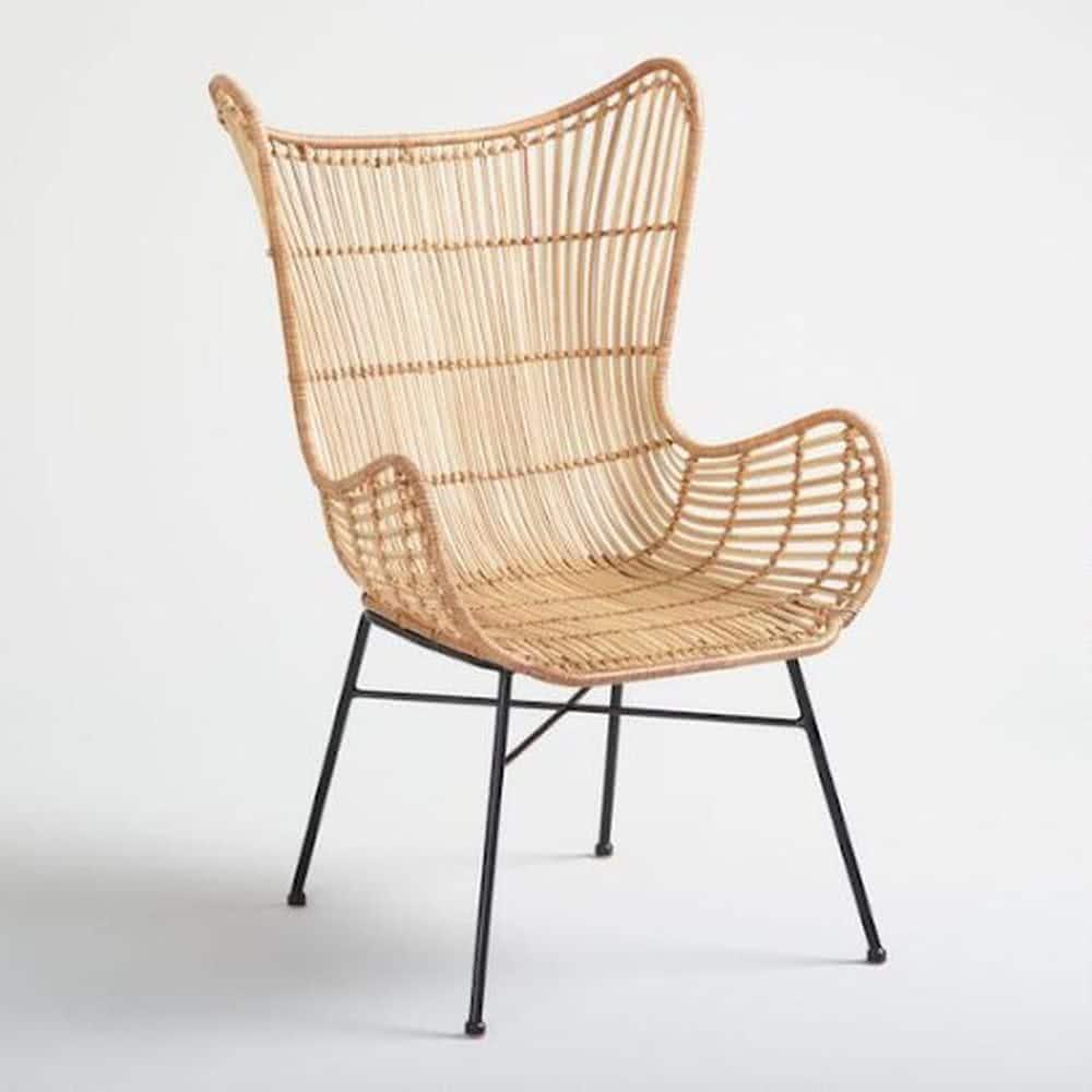 Fotel rattanowy dosypialni wstylu skandynawskim