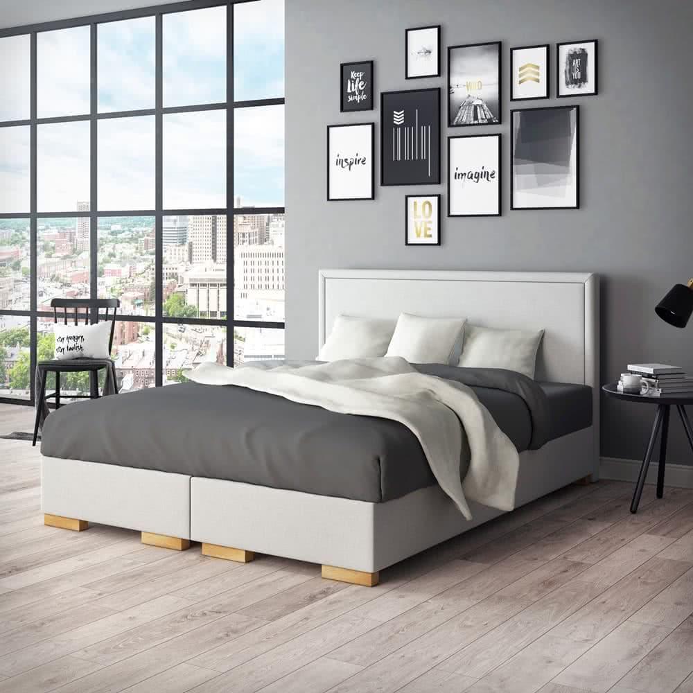 Sypialnia wstylu skandynawskim - łóżko kontynentalne simple