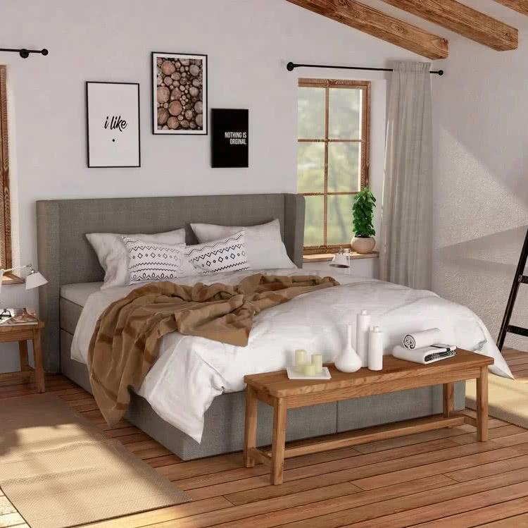 Sypialnia wstylu skandynawskim - łóżko kontynentalne Vintage Hilding