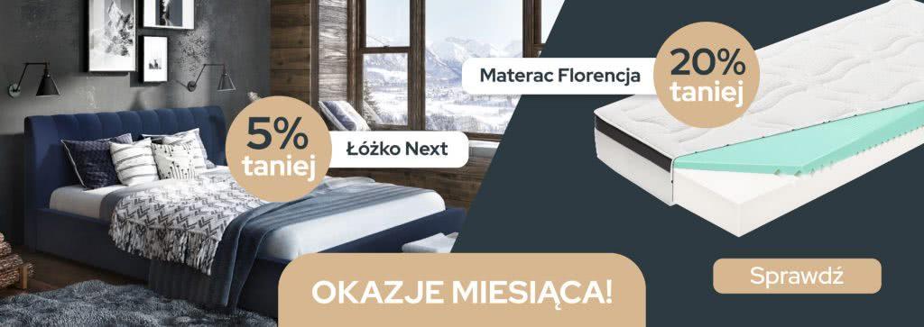 Łóżko Next i Materac Florencja Promocja Maj 2021