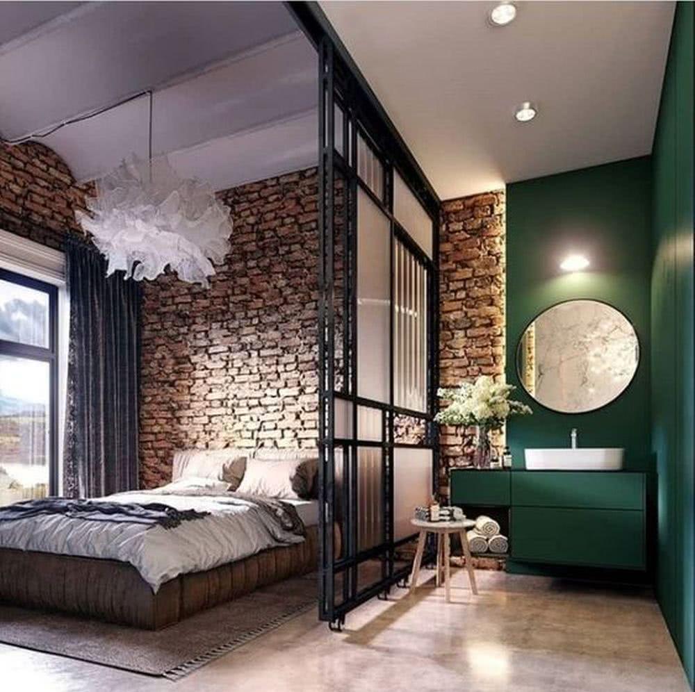 Sypialnia industrialna podział wnętrza