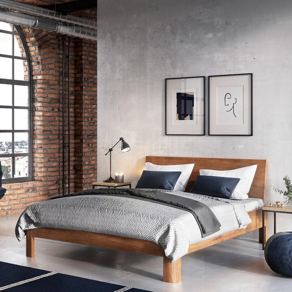 Łóżko drewniane jasne wsypialni industrialnej