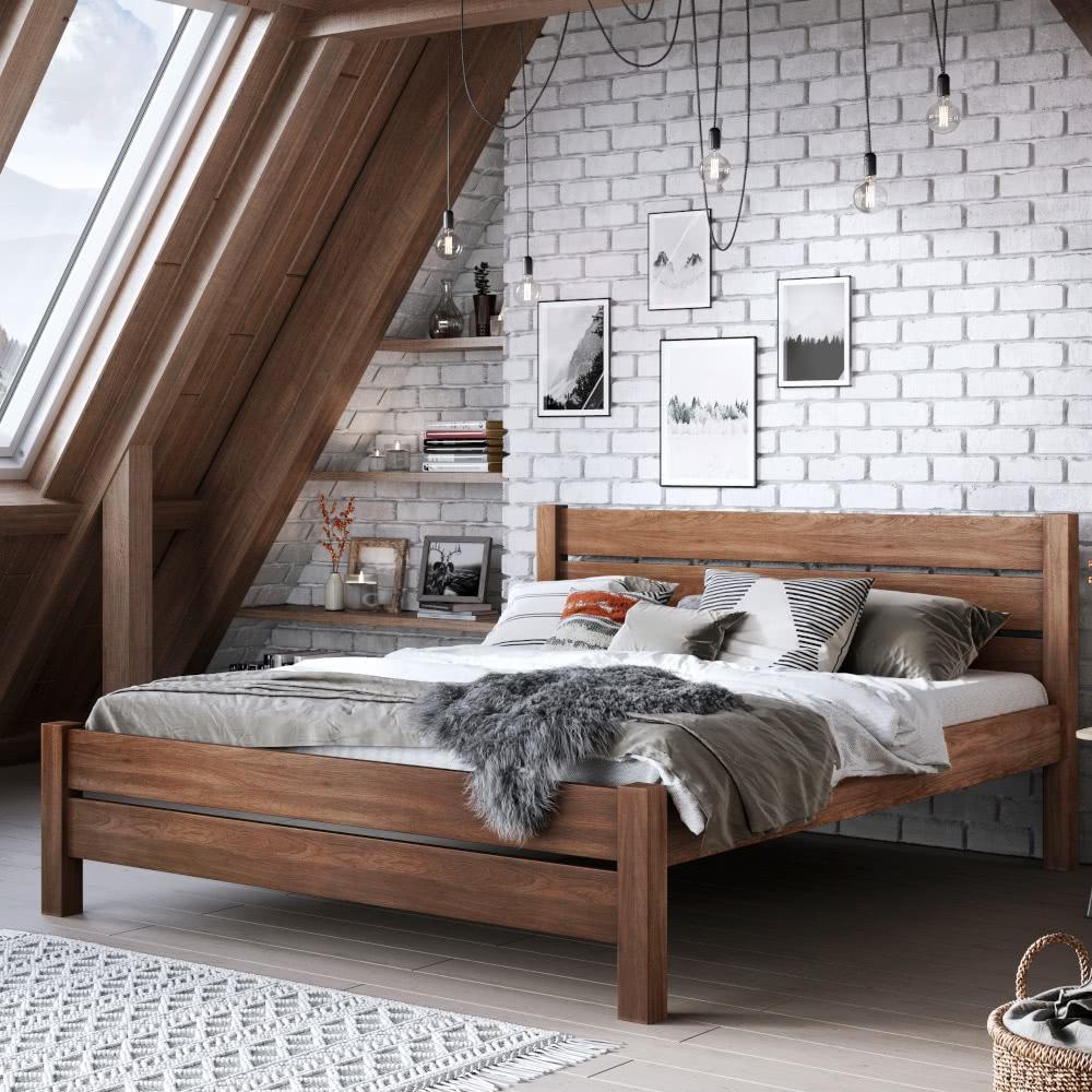 Łóżko drewniane ciemne wsypialni industrialnej