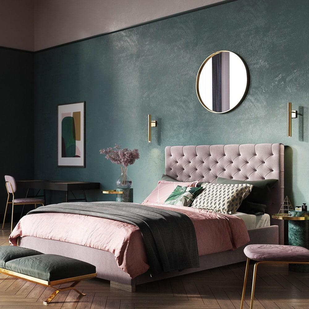 Sypialnia tapicerowana wstylu glamour