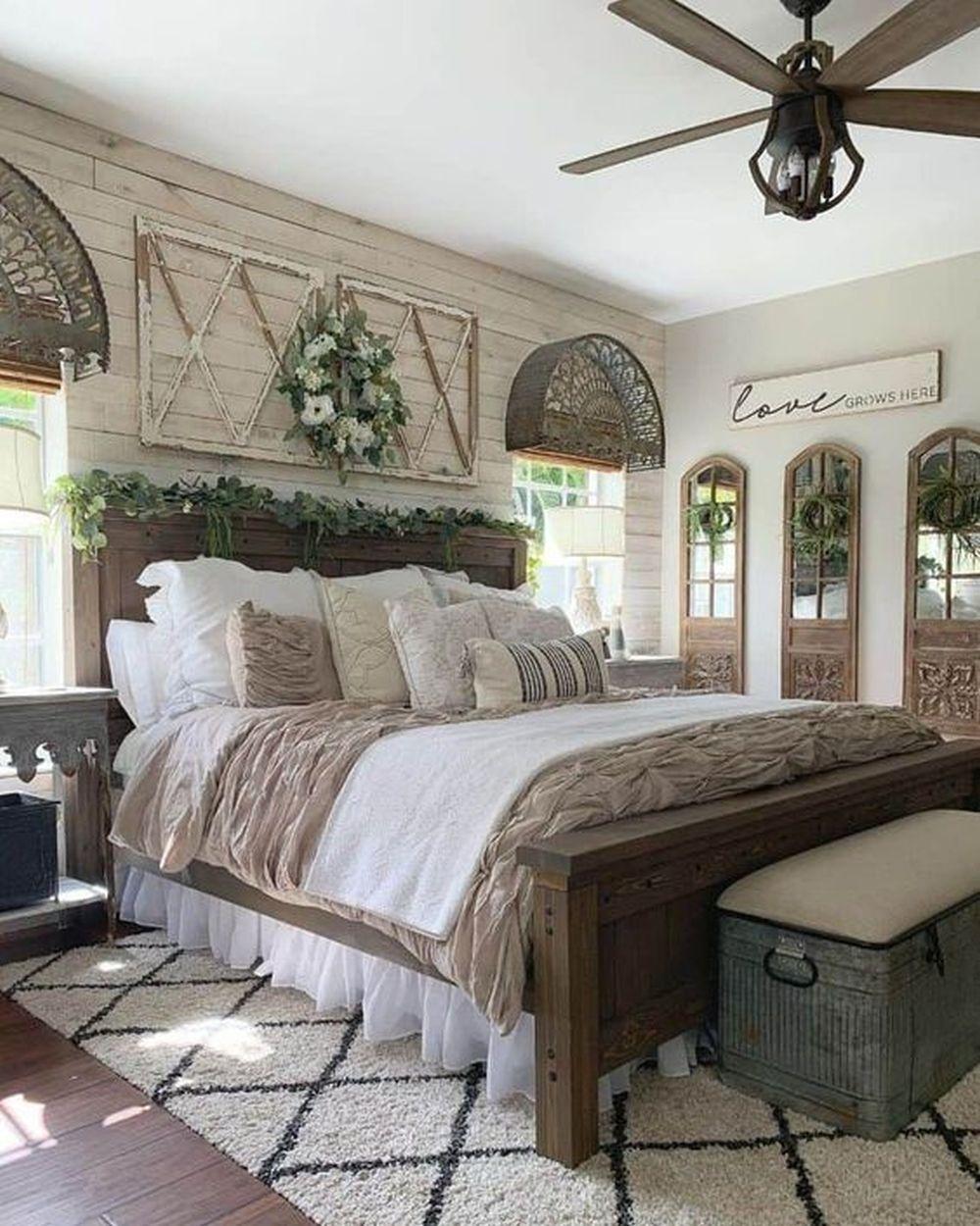 Nowoczesna sypialnia rustykalna