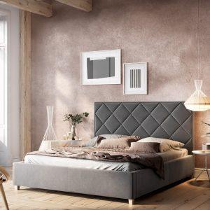 Łóżko tapicerowane Caro Senpo szare
