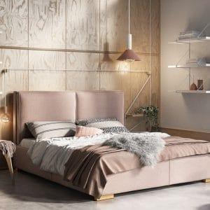 Łóżko tapicerowane Hamilton Senpo pudrowy róż