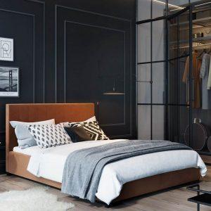 Łóżko tapicerowane Hugo Senpo zgaszony pomarańcz