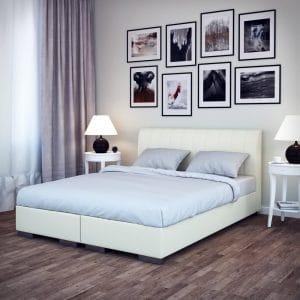 Łóżko tapicerowane kontynentalne Next jasne Senpo