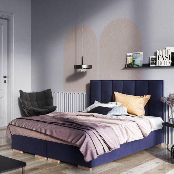 Łóżko tapicerowane kontynentalne Oxford Senpo granatowe
