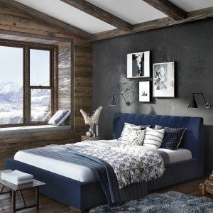 Łóżko tapicerowane Next Senpo granat