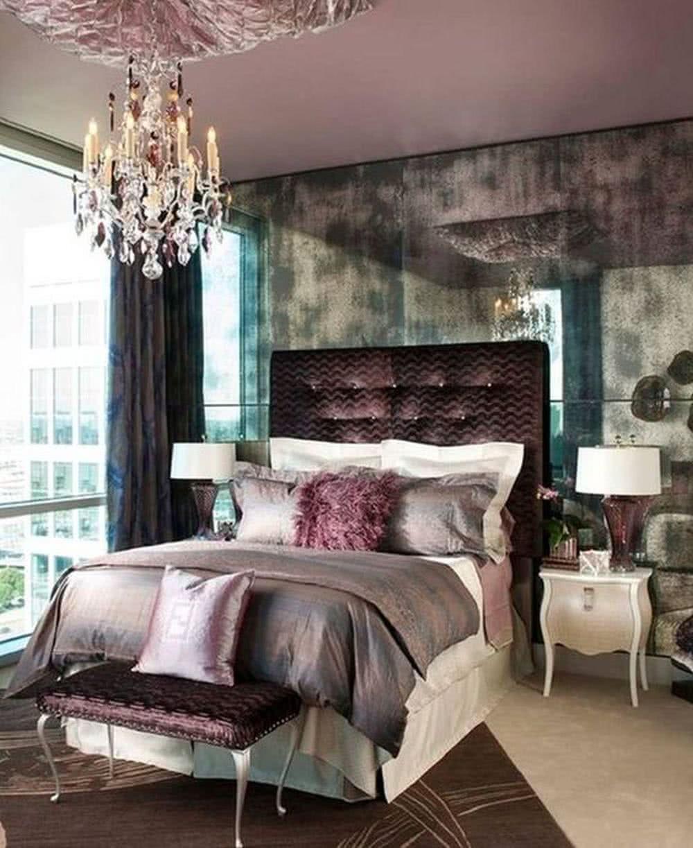 Sypialnia glamour - żyrandol itekstylia