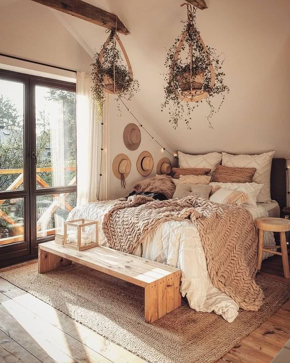 Sypialnia wstylu boho