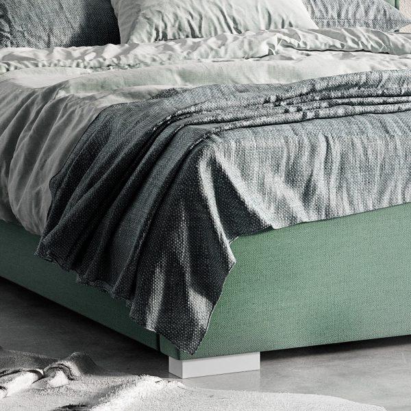 Łóżko tapicerowane Magnolia Senpo zielone zanóżek